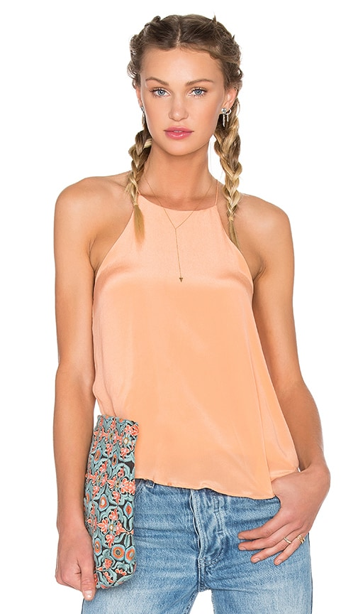 BLAQUE LABEL Silk Halter Tank in Peach