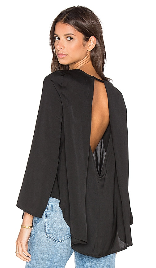 BLAQUE LABEL Long Sleeve Open Back Drape Top in Black