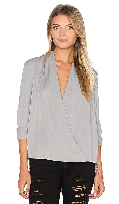 BLAQUE LABEL Faux Wrap Blouse in Light Gray
