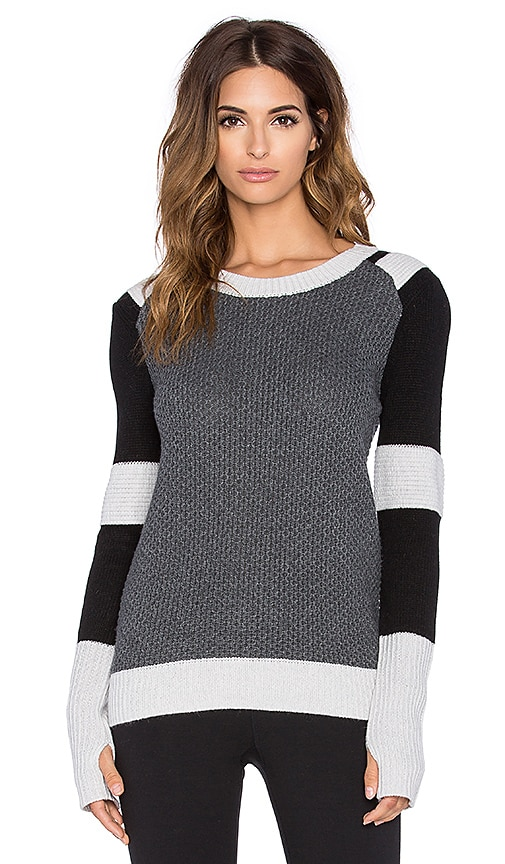 BLANC NOIR Moto Sweater in Heather Grey & Black & Ash Grey