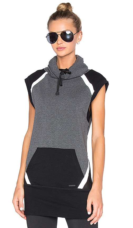 BLANC NOIR Lock Funnel Neck Sleeveless Hoodie in Charcoal Heather & Black