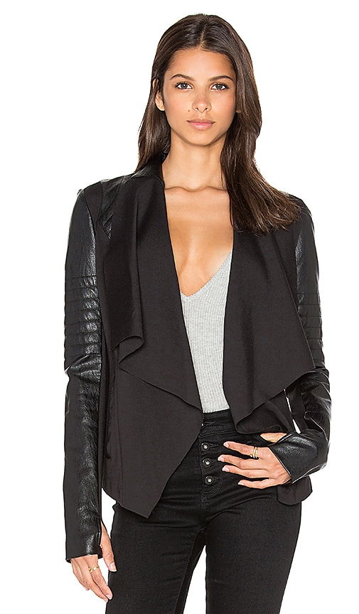 BLANC NOIR Drape Front Jacket in Black