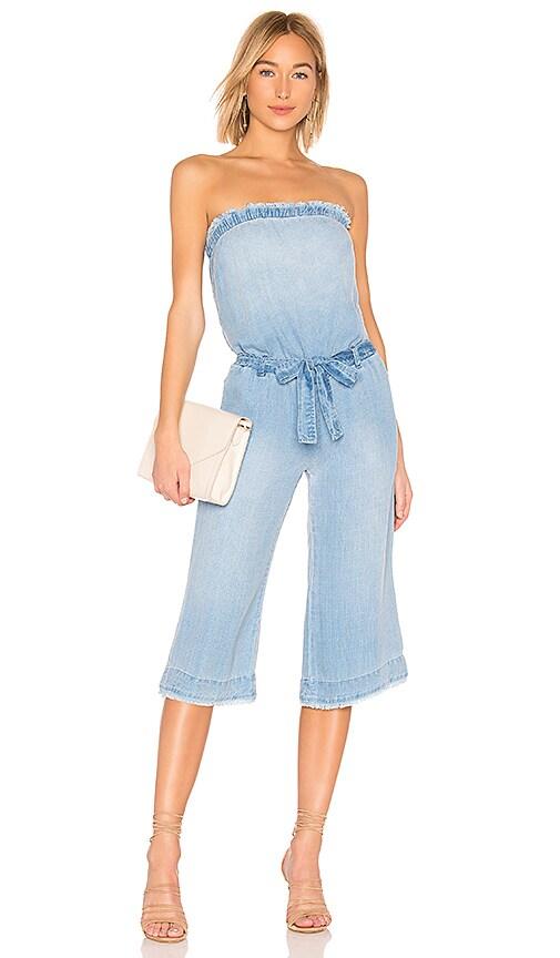 Strapless Frayed Crop Jumpsuit
