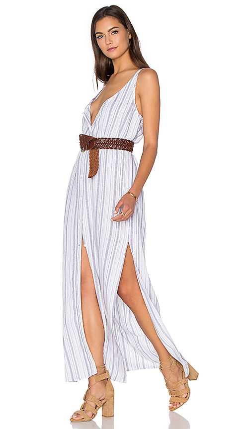 Bella Dahl Button Front Maxi Dress in Navy & White Stripe