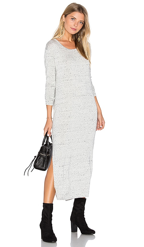 Bella Dahl Side Slit Long Sleeve Dress in Gray
