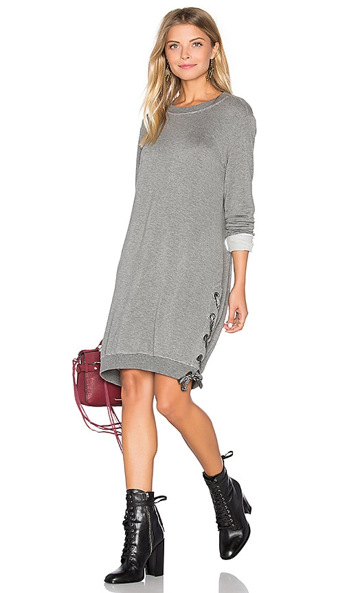 Bella Dahl Lace Up Sweatshirt Dress in Gray