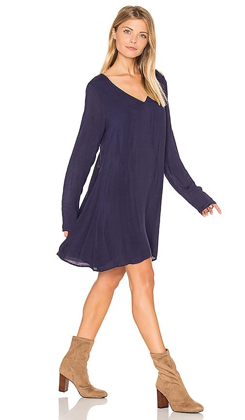 Bella Dahl V Neck Lace Back Dress in Navy