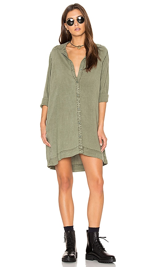 Bella Dahl Lace Back Shift Dress in Army