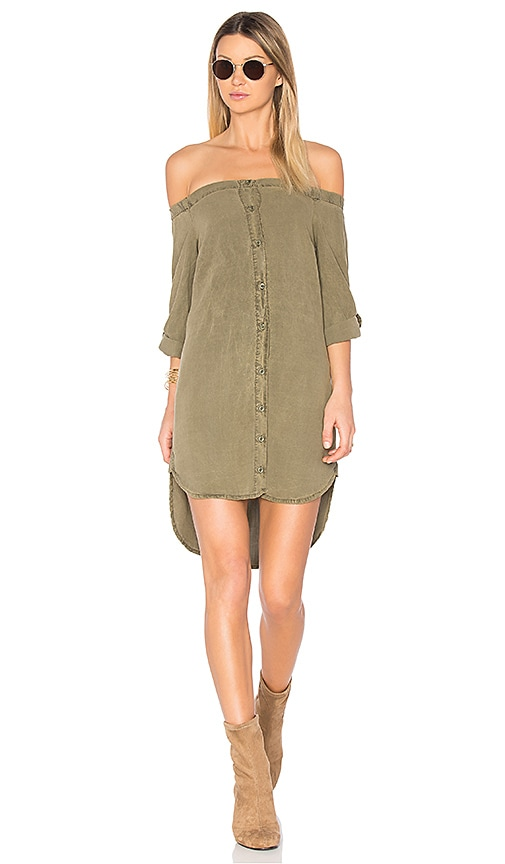 Bella Dahl Off Shoulder Button Front Dress in Army