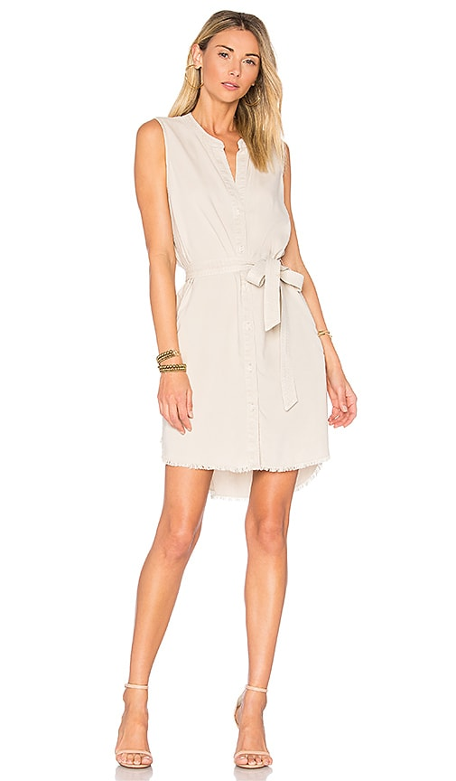 Bella Dahl Belted Shirt Dress in Light Gray