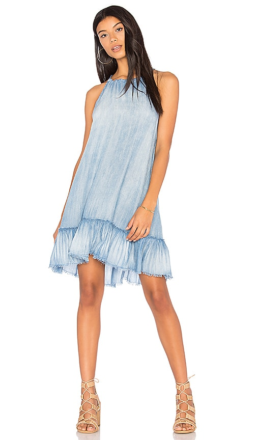 Bella Dahl Ruffle Halter Dress in Silver Rock Wash