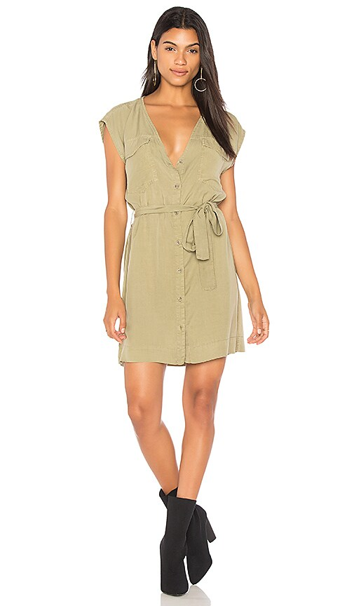Bella Dahl Soft Utility Button Up Dress in Army