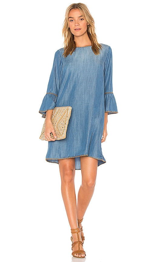 Bella Dahl Blanket Stitched Bell Sleeve Dress in Blue