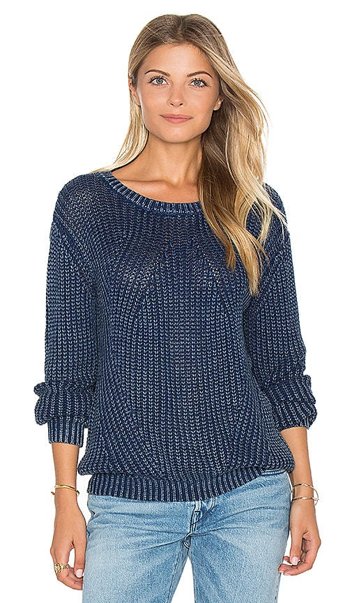 Bella Dahl Distressed Dye Sweater in Blue