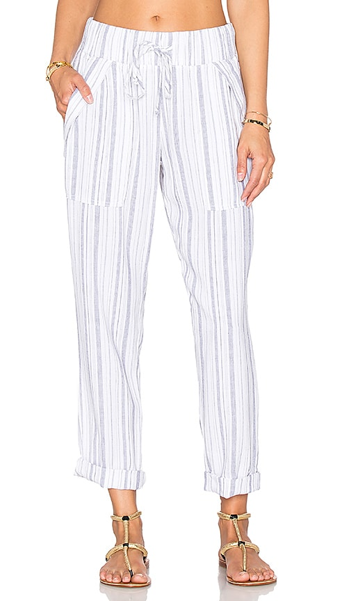 Bella Dahl Folded Pocket Pant in Navy & White Stripe