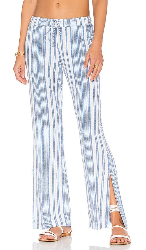 Bella Dahl Side Slit Wide Leg Pant in Blue