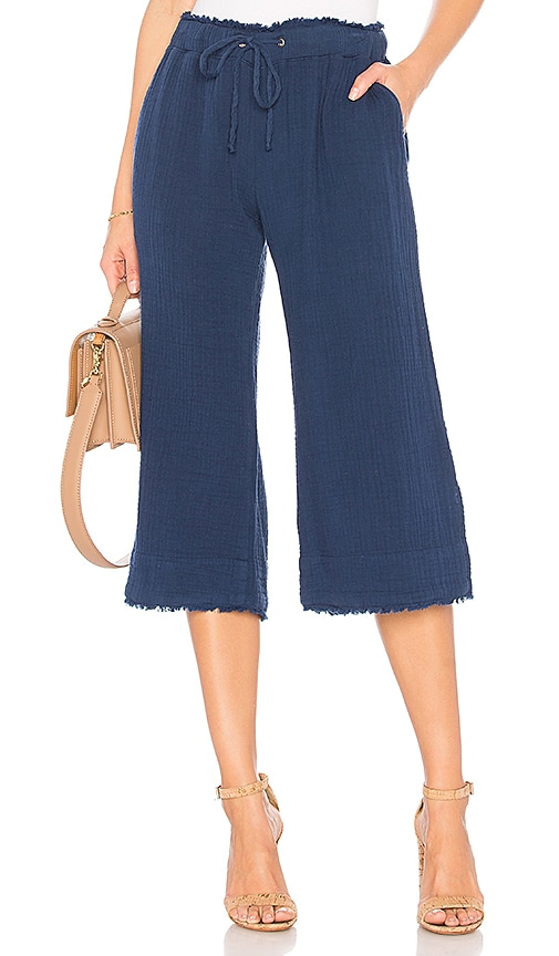 Bella Dahl Wide Leg Crop Pant in Blue