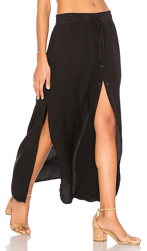 Bella Dahl Button Front Maxi Skirt in Black