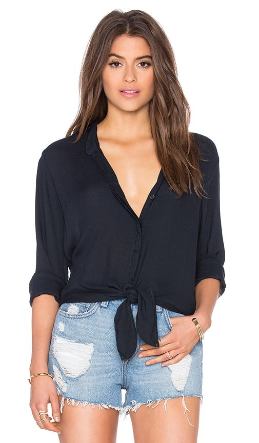 Bella Dahl Tie Front Shirt in Black