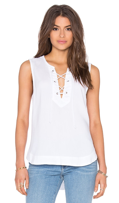 Bella Dahl Lace Up Tank in White