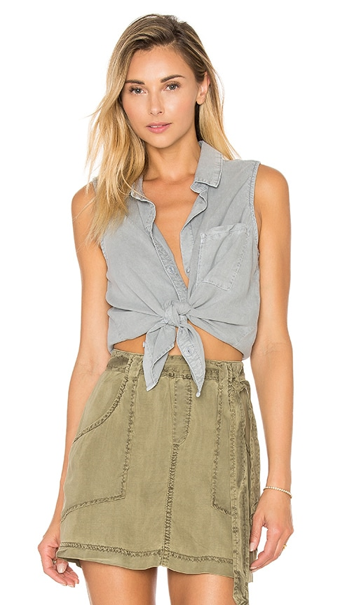 Bella Dahl Seams Back Tank in Gray