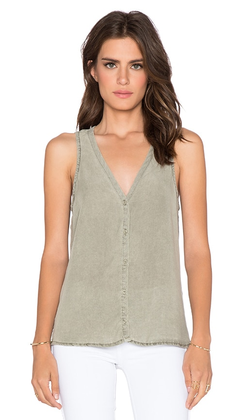 Bella Dahl Sleeveless Drape Back Tank in Spring Moss