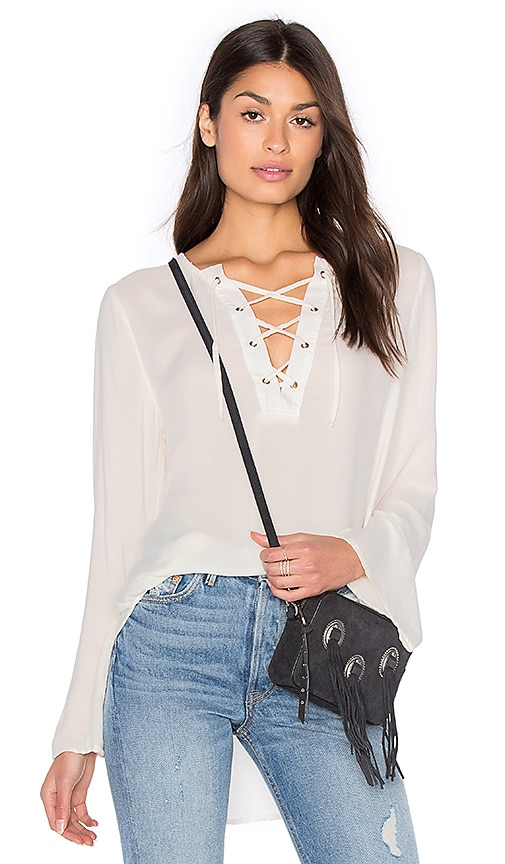Bella Dahl Bell Sleeve Lace Up Top in White