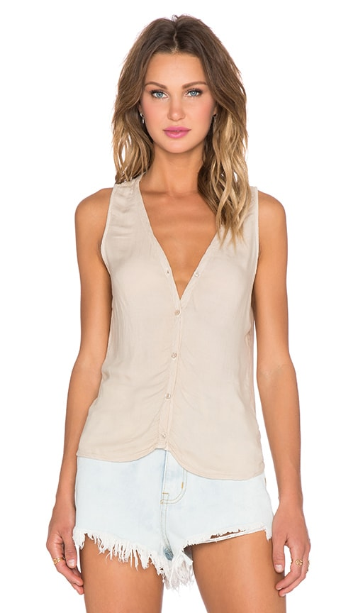 Bella Dahl Sleeveless Drape Back Tank in Spring Khaki