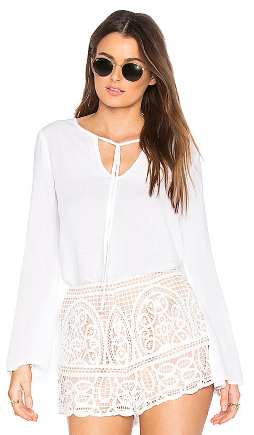 Bella Dahl Tie Neck Blouse in White