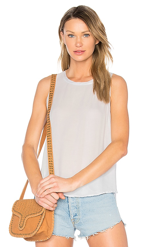 Bella Dahl Back Button Up Top in Gray