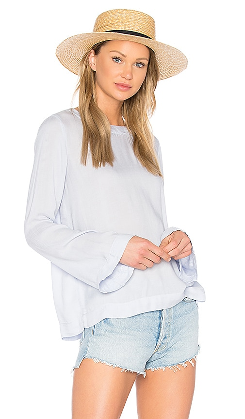 Bella Dahl Bell Sleeve Tie Back Top in Blue