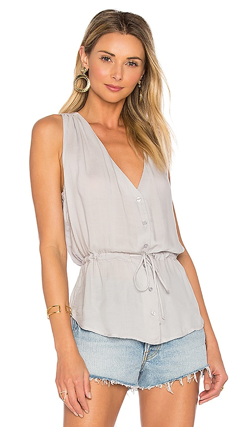 Bella Dahl Button Front Tank in Gray
