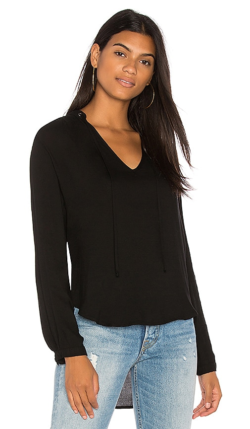 Bella Dahl Grommet Tie Pull Over Top in Black