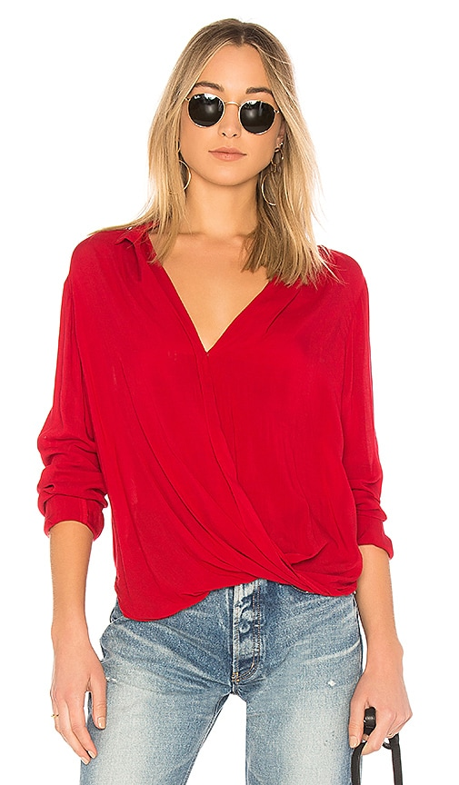 Bella Dahl Drape Front Blouse in Red