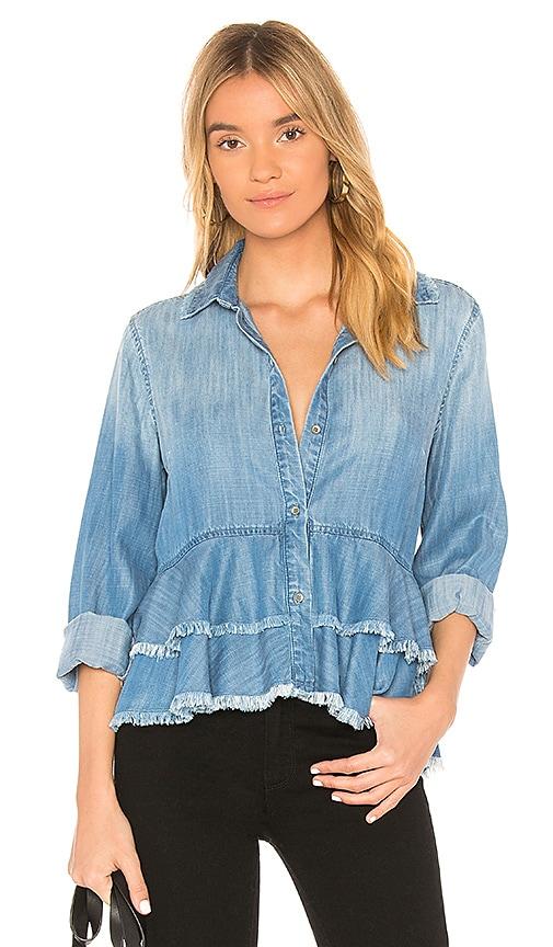 Bella Dahl Layered Peplum Shirt in Blue
