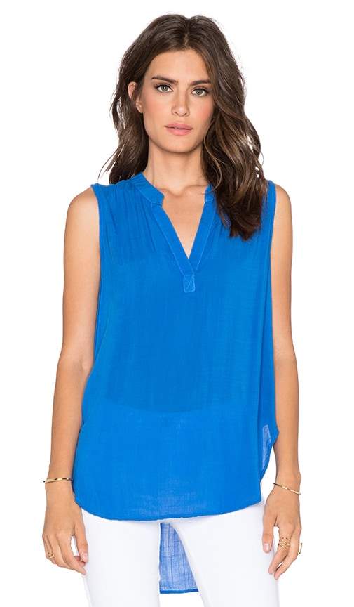 Bella Dahl Sleeveless Henley Tank in Blue Isle