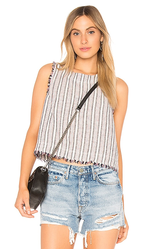 Bella Dahl Sleeveless Fray Button Back Top in White