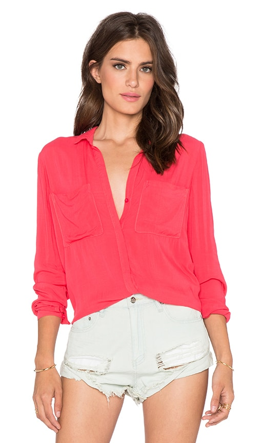 Bella Dahl Hipster Button Up Top in Sunset Rose