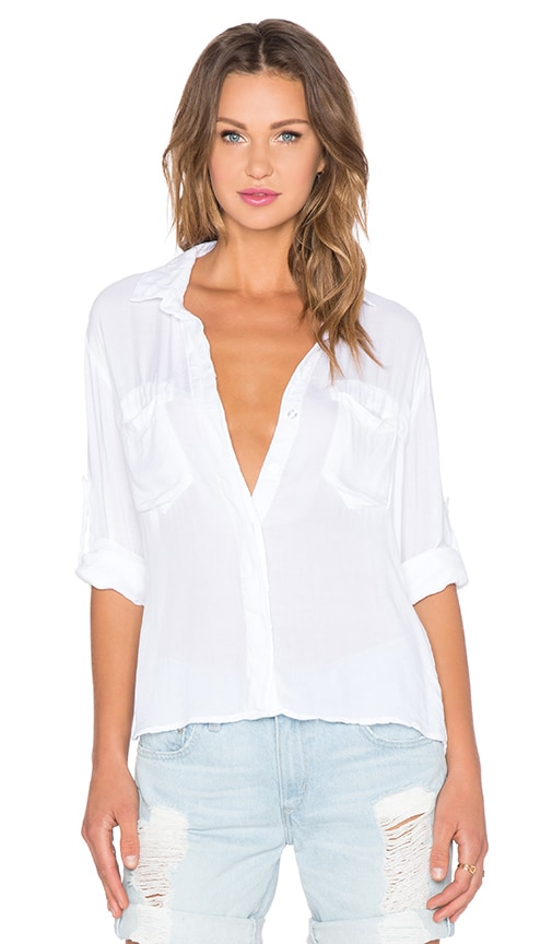 Bella Dahl Split Back Button Up Top in White