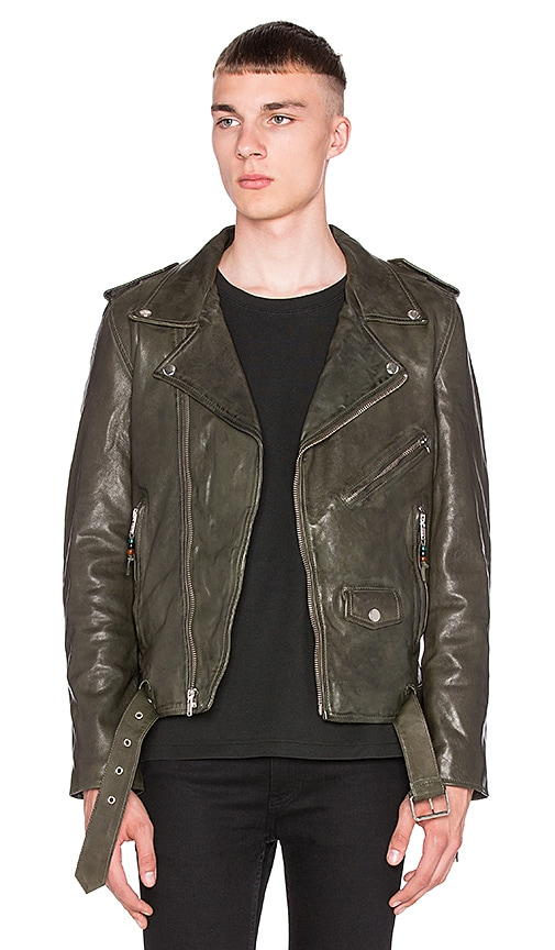 BLK DNM X REVOLVE MAN Exclusive Leather Jacket 5 in Military Green