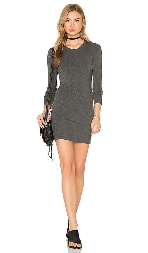 BLQ BASIQ Long Sleeve Mini Dress in Charcoal