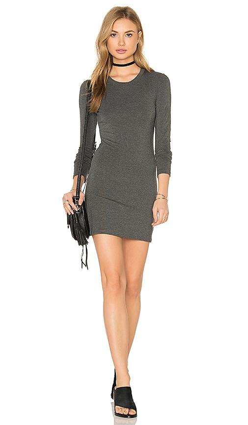 BLQ BASIQ Long Sleeve Mini Dress in Charcoal