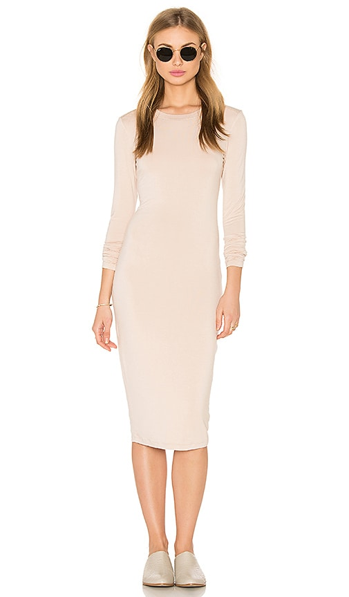 BLQ BASIQ Long Sleeve Midi Dress in Cream