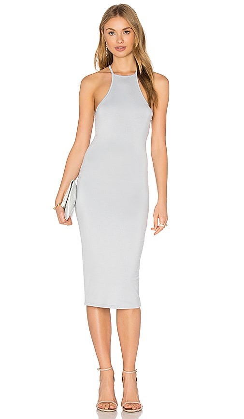 BLQ BASIQ High Neck Tank Midi Dress in Light Gray