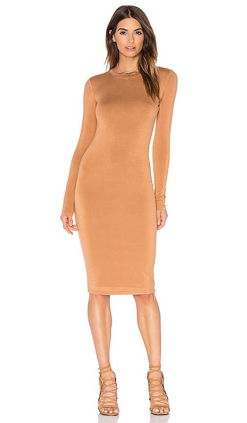 BLQ BASIQ Long Sleeve Mini Dress in Tan