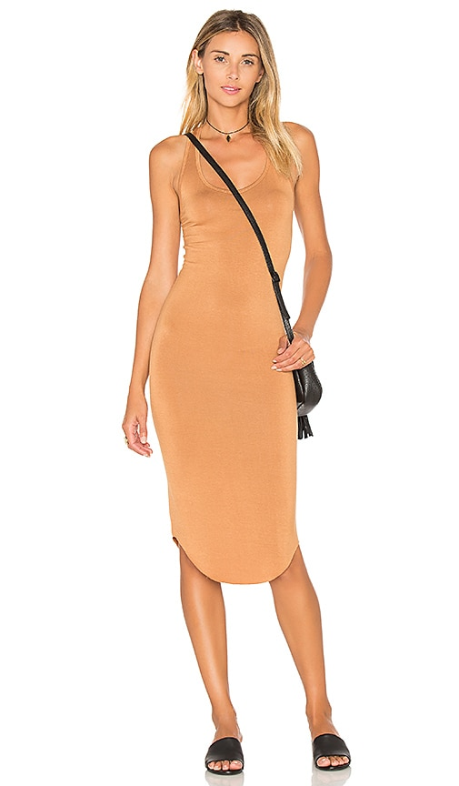 BLQ BASIQ Racer Tank Dress in Tan