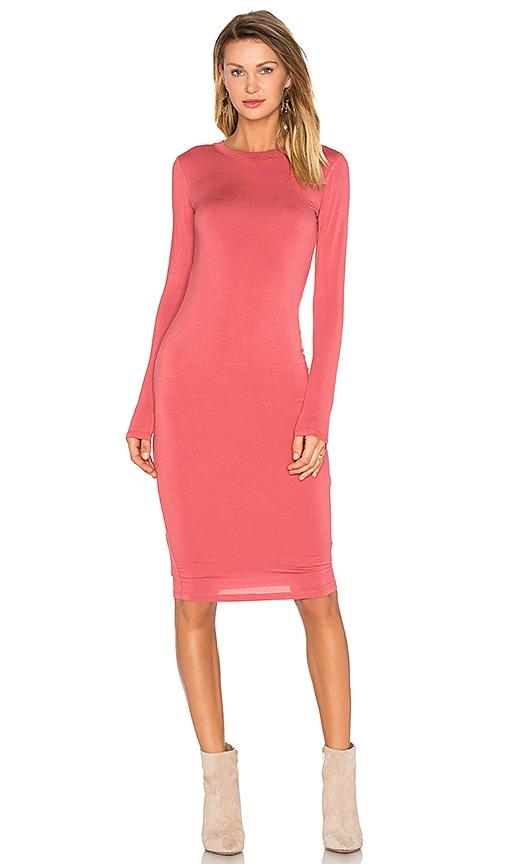 BLQ BASIQ Long Sleeve Midi Dress in Coral