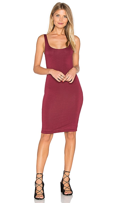 BLQ BASIQ Back Slit Tank Midi Dress in Burgundy