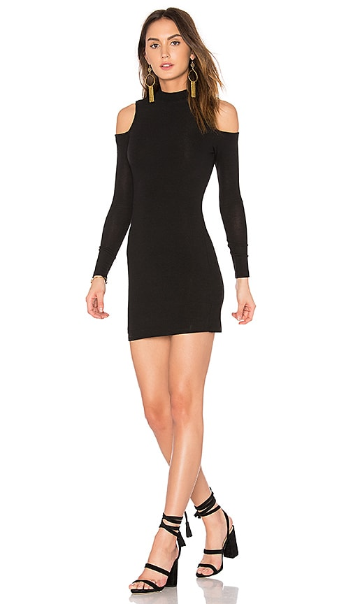 BLQ BASIQ Cold Shoulder Mini Dress in Black