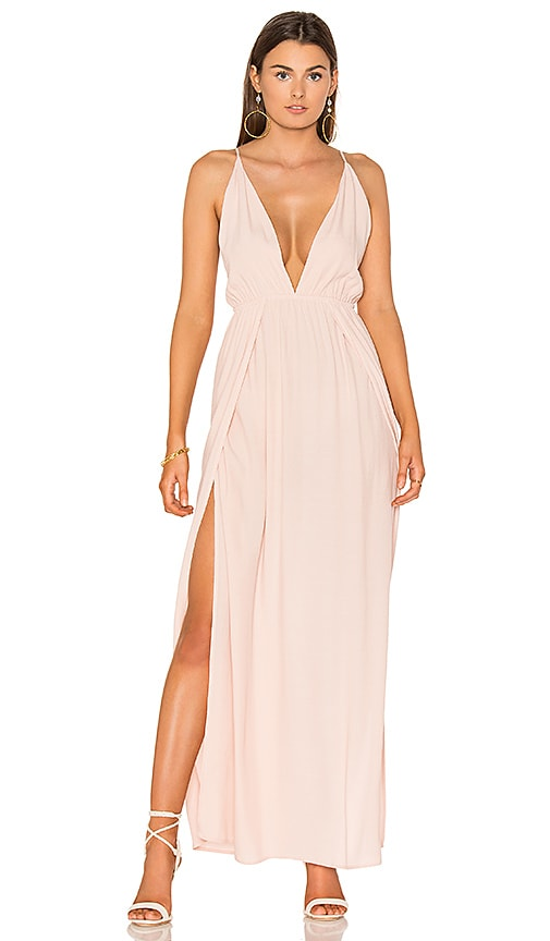 BLQ BASIQ Low Plunge Maxi Dress in Pink